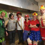 Vorstand v.l. Patrik (grüne Fee), Peter (Supermuni), Ernst (Herr Tell) Erika (Super Mario) Agnés (Wonder- Woman), Fabian (Bathman)